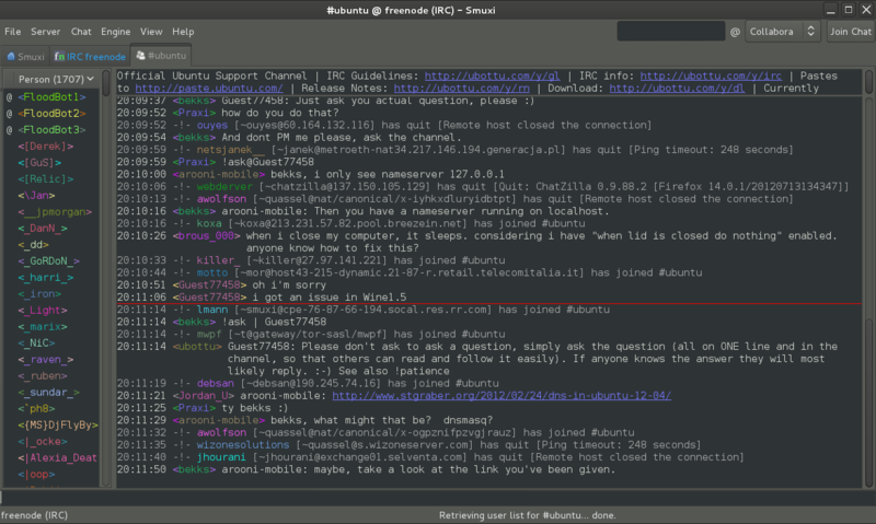 Screenshot of Smuxi 0.8.10 in action