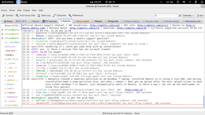 Screenshot of Smuxi 0.8.11 on GNOME3
